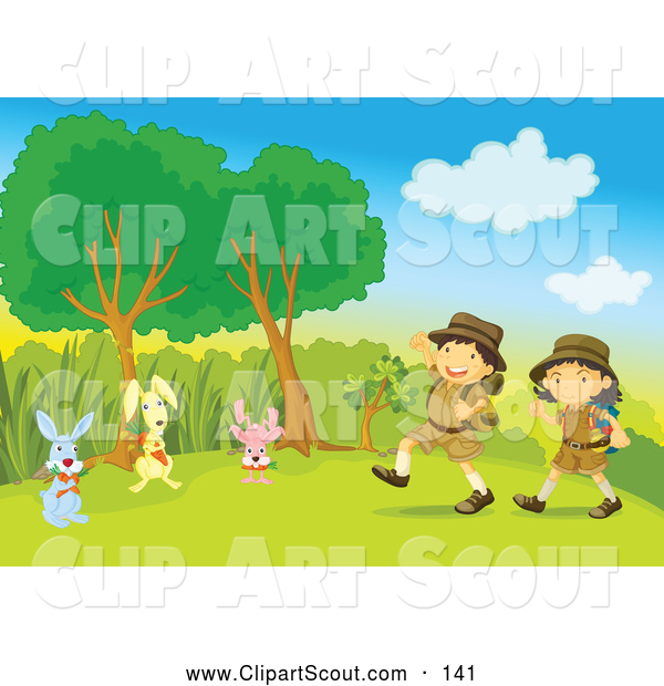 Clipart of a Pair of Children Boy and Girl Scouts and Rabbits