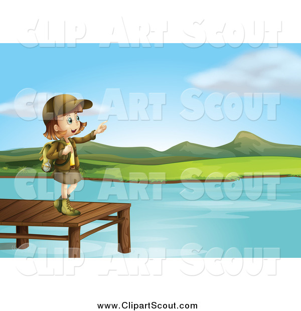 Clipart of a Pointing Girl Scout on a Lake Dock