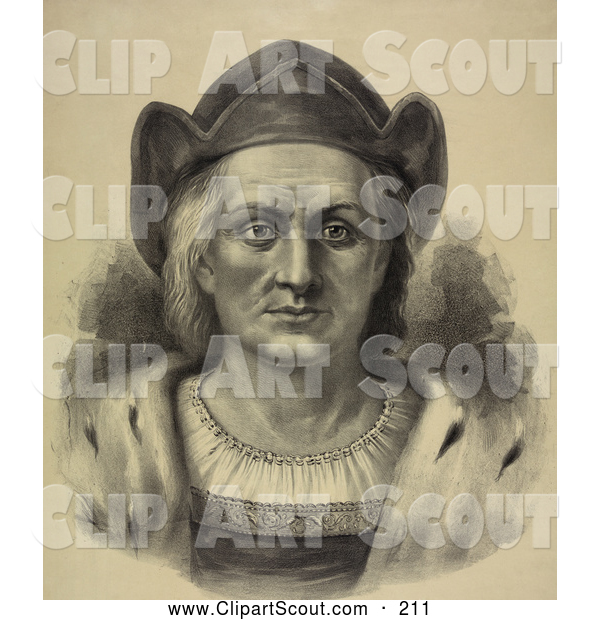 Clipart of a Portrait of Christopher Columbus Facing Front and Wearing a Hat - Artwork