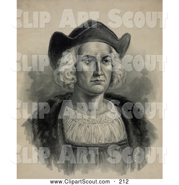 Clipart of a Portrait of Christopher Columbus Wearing a Hat - Artwork
