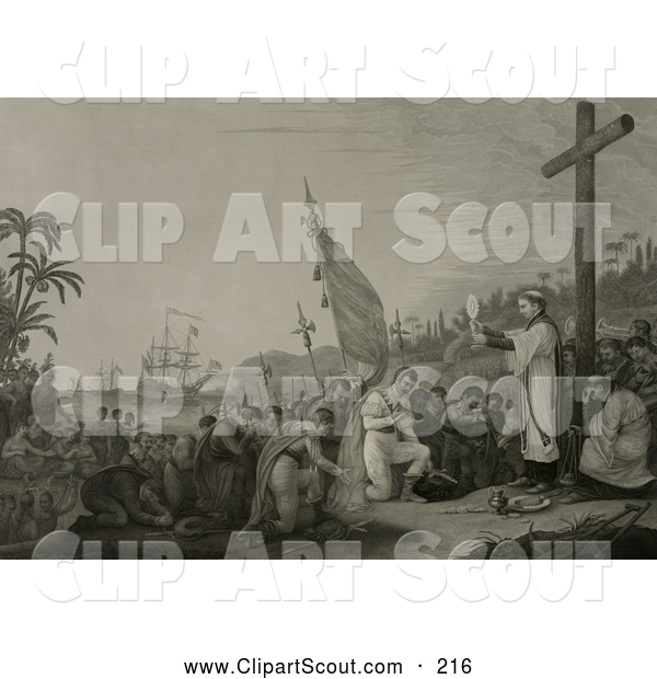Clipart of a Priest During a Religious Service at a Large Cross During the First Landing in the New World - Artwork