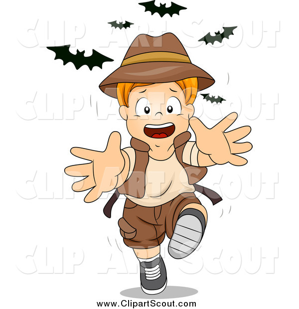 Clipart of a Red Haired Caucasian Explorer Boy Running from Bats