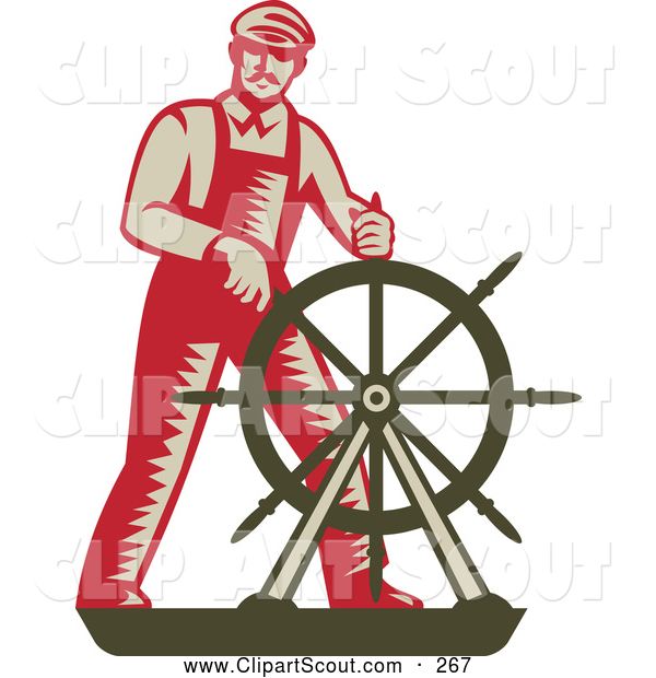 Clipart of a Retro Captain Steering at a Ship's Helm
