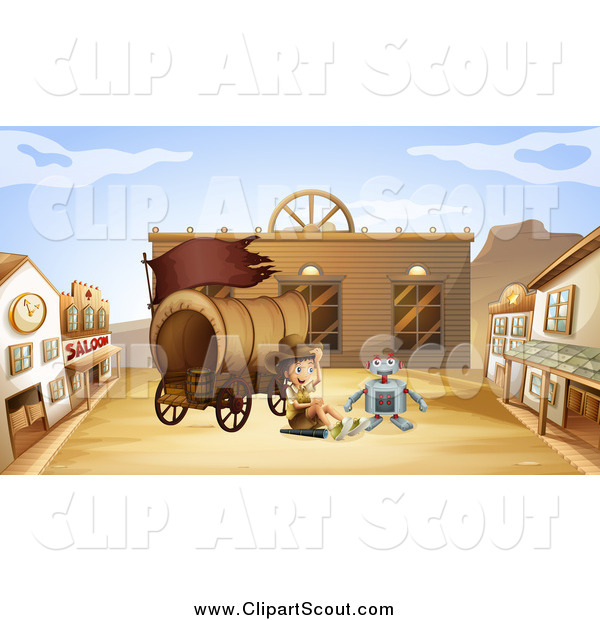 Clipart of a Robot and Explorer Boy in a Western Ghost Town
