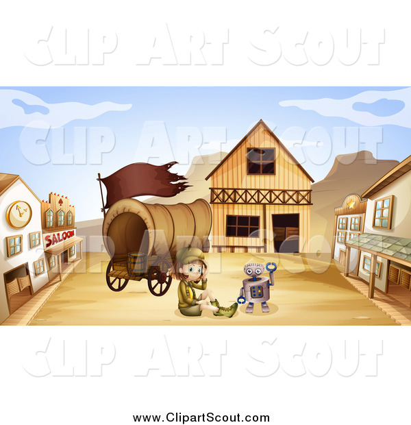 Clipart of a Robot and Scout Girl with a Wagon in a Ghost Town