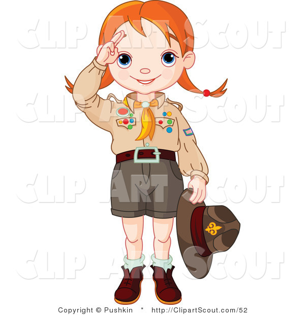 Clipart of a Saluting Scout Girl Holding Her Hat in Her Hand
