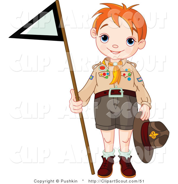 Clipart of a Scout Boy Holding up a Triangular Flag