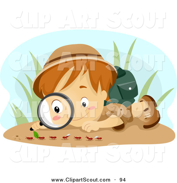 Clipart of a Scout Boy Observing Ants
