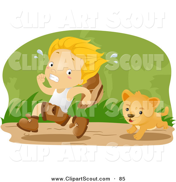 Clipart of a Scout Boy Running from a Lion Cub