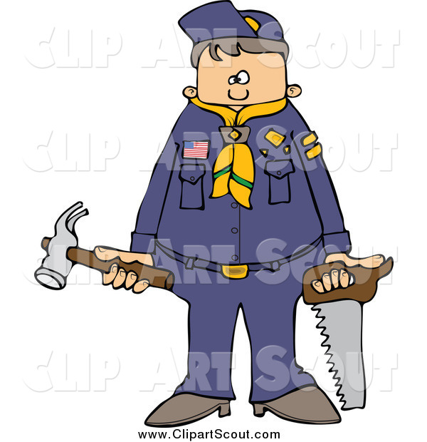 Clipart of a Scout Boy with Tools