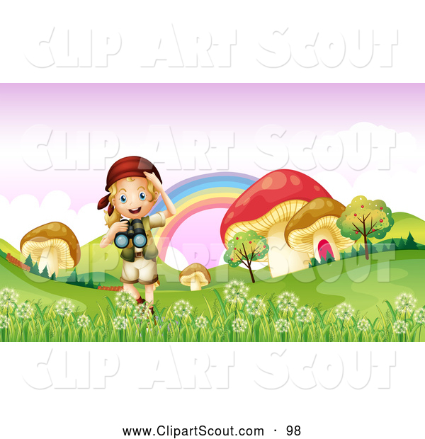 Clipart of a Scout Explorer Girl with Binoculars in a Meadow of Giant Mushrooms
