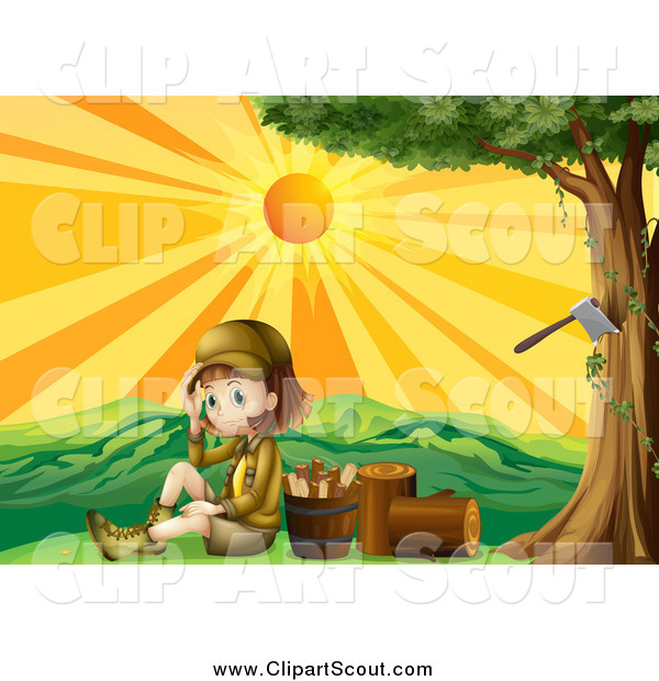 Clipart of a Scout Girl by Chopped Wood at Sunset