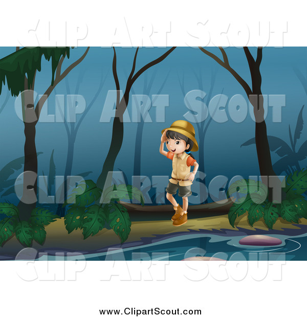 Clipart of a Scout Girl Exploring a Swamp