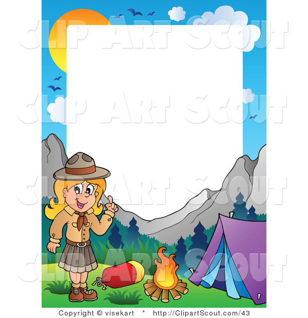 Clipart of a Scout Girl Frame, Showing a Girl Camping in the Mountains