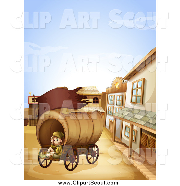 Clipart of a Scout Girl Sitting in a Ghost Town Wagon