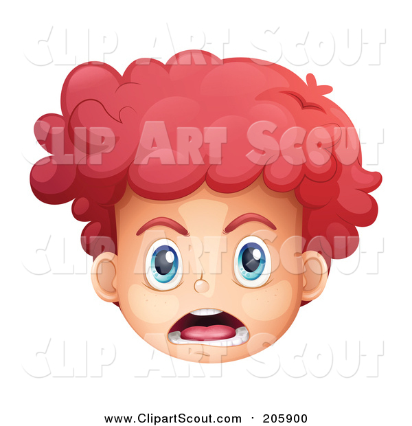 Clipart of a Shouting Red Haired White Boys Face