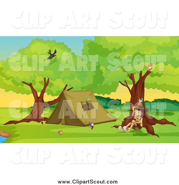 Clipart of a Sitting Explorer Boy by a Camping Tent
