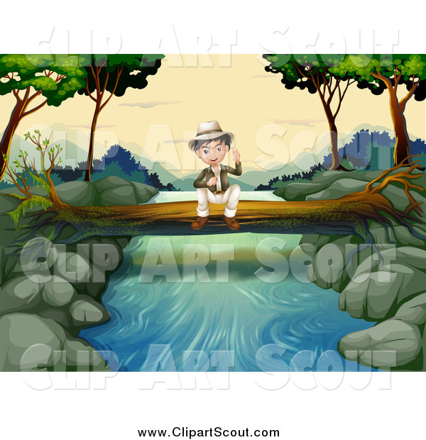 Clipart of a Sitting Explorer Boy on a Fallen Log over a Stream