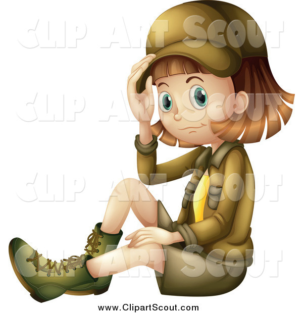 Clipart of a Sitting Explorer Girl