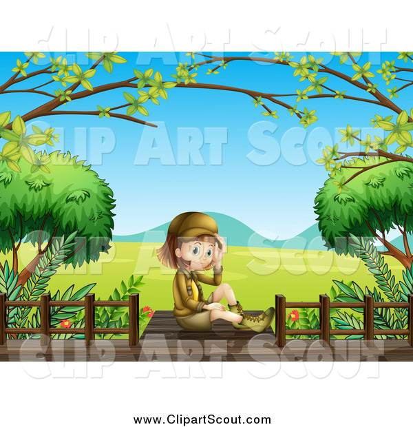 Clipart of a Sitting Explorer Girl on a Boardwalk over a Valley