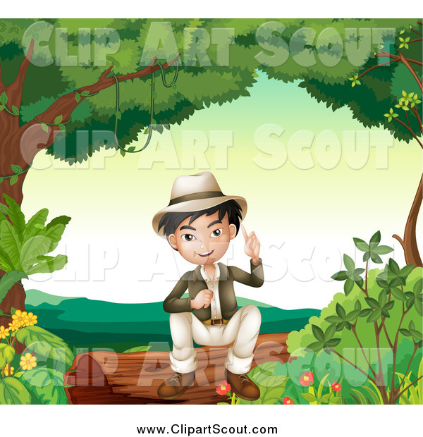 Clipart of a Smart Asian Boy Sitting on a Log