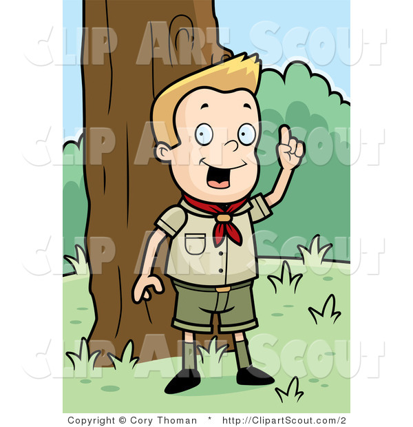 Clipart of a Smart Blond Cub Scout Boy Outdoors