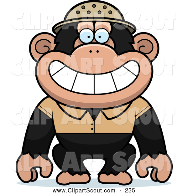 Clipart of a Smiling Chimpanzee Explorer