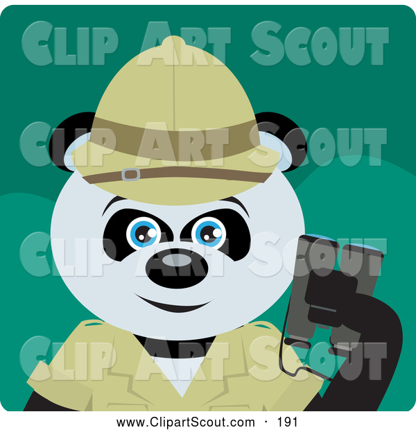 Clipart of a Smiling Giant Panda Bear Character Exlplorer