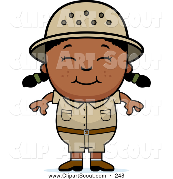Clipart of a Smiling Happy Black Safari Girl