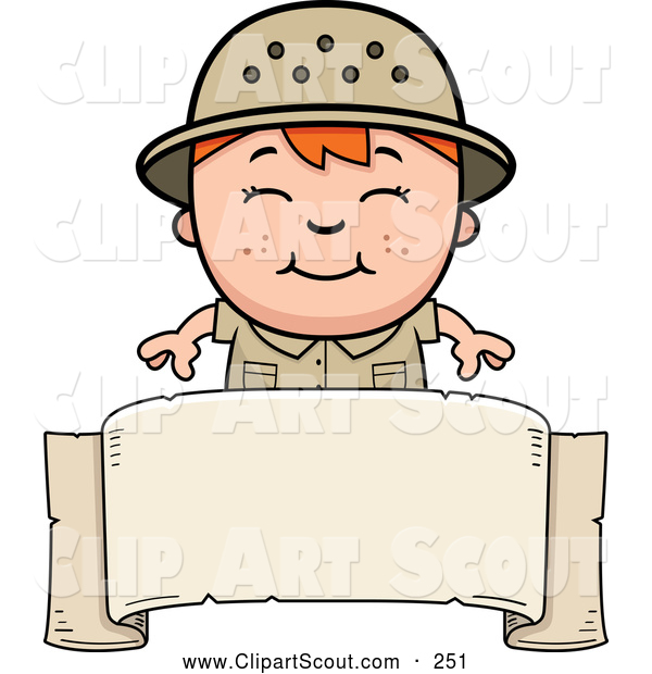 Clipart of a Smiling Red Haired Safari Boy over a Blank Banner