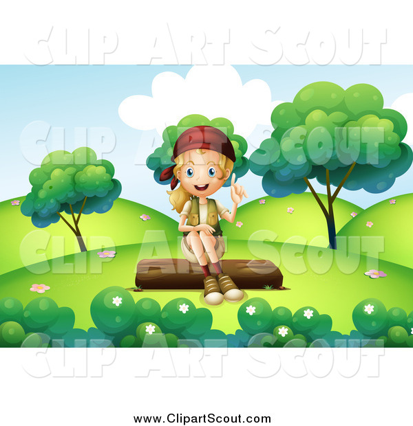 Clipart of a Talking Explorer Girl Sitting on a Log