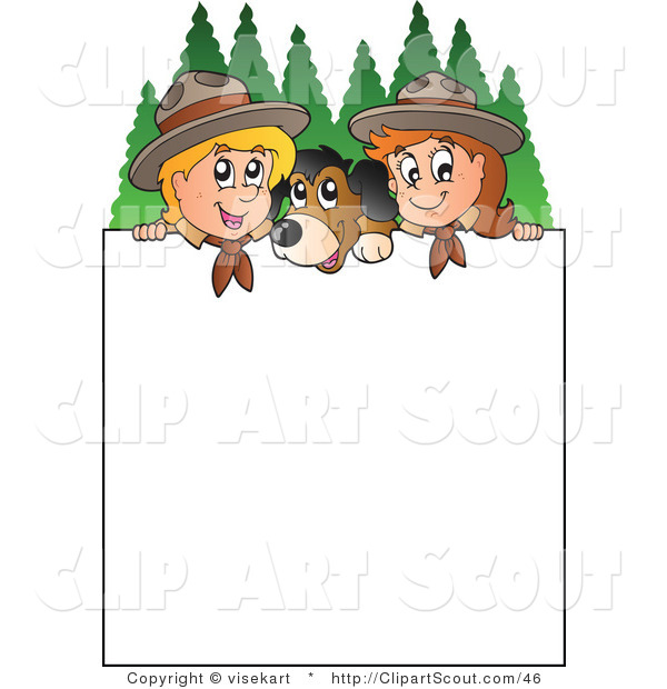 Clipart of a Two Scouts and a Dog with a Blank Sign