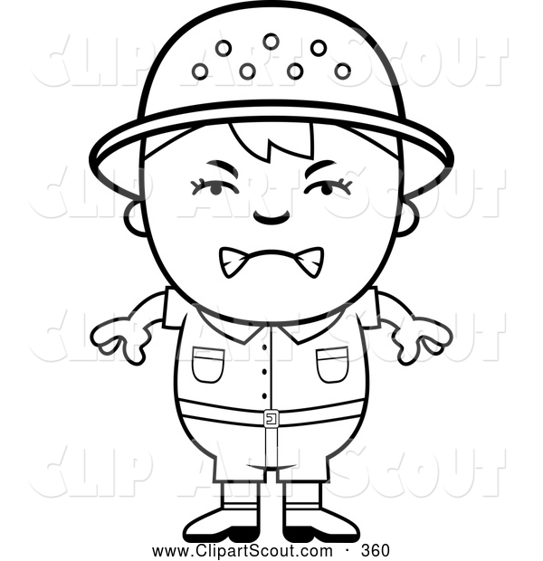 Clipart of a Upset Black and White Angry Safari Boy