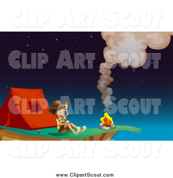 Clipart of an Explorer Boy by a Fire, Camping on a Cliff