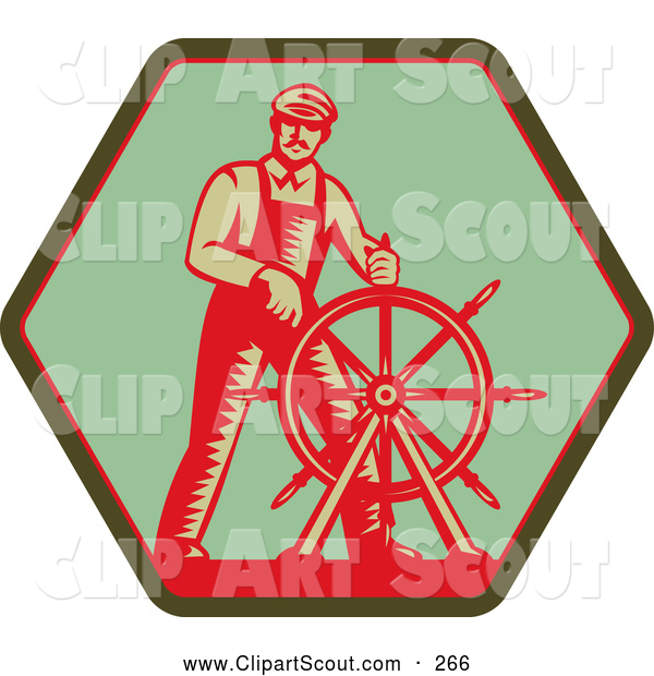 Clipart of an Old Fashioned Captain Steering a Helm on a Green Sign