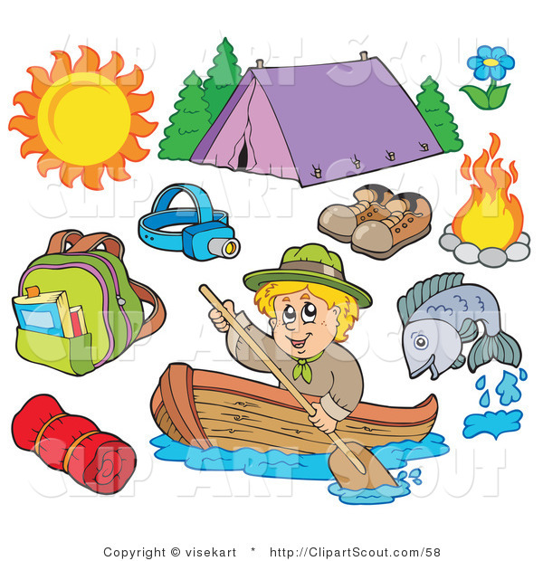 Clipart of an Ourdoor Sports Digital Collage of Summer Recreation and Camping Equipment