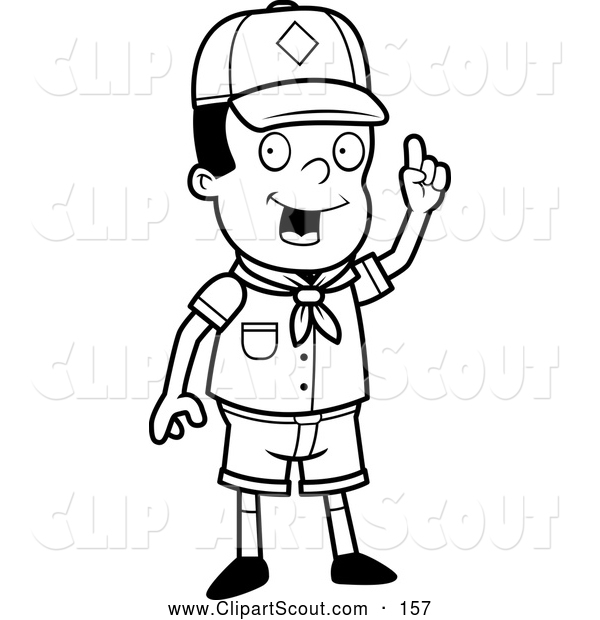 Clipart of an Outlined Smart Black Cub Scout Boy Holding up His Finger