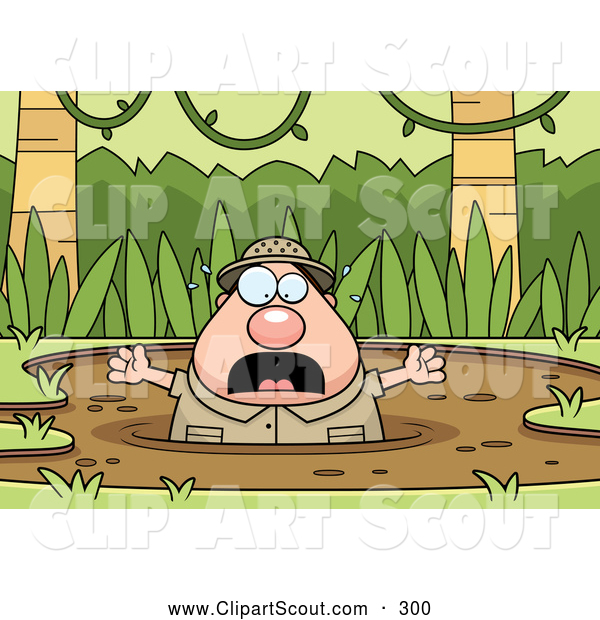 Clipart of an Upset Chubby Explorer Drowning in Quick Sand