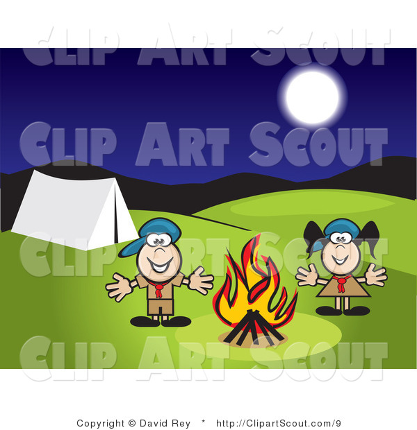 Clipart of Boy and Girl Scouts Camping by a Fire