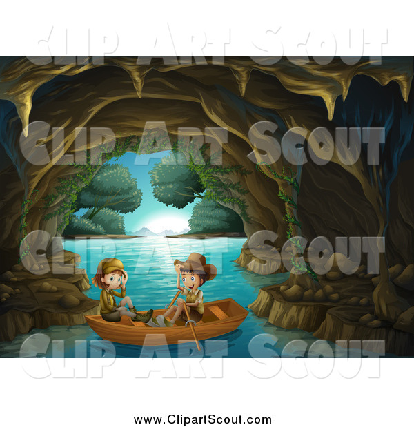 Clipart of Explorer Kids in a Water Cave