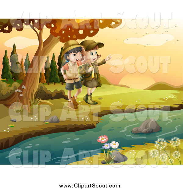 Clipart of Explorer Scout Girls on a River Bank