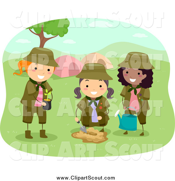 Clipart of Girl Scouts Planting a Tree by a Camp Site