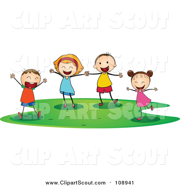 Clipart of Joyous Caucasian Children Playing