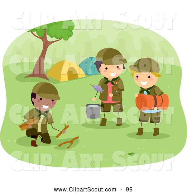 Clipart of Scout Boys Preparing Camp