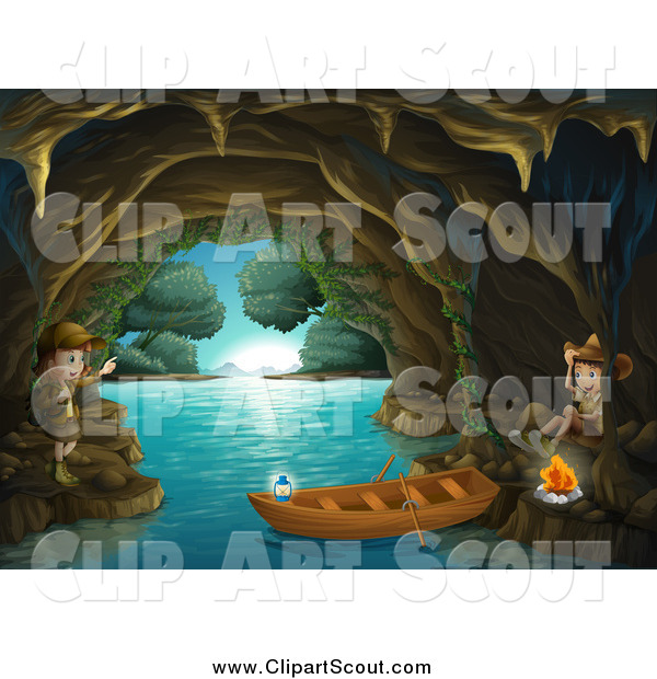 Clipart of Scout Explorer Kids with a Boat and Fire in a Cave
