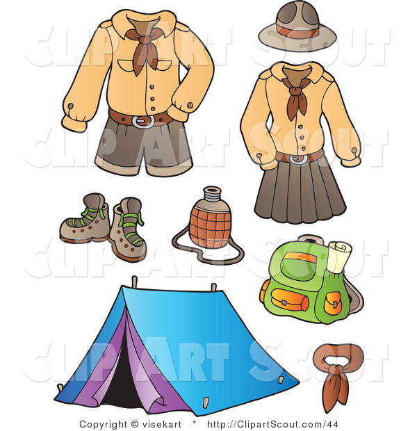 Clipart Of Scout Uniforms And Camping Gear Digital Collage