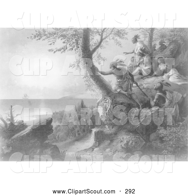 Clipart of the Arrival of Hendrick Hudson in the Bay of New York Painting, September 12, 1609