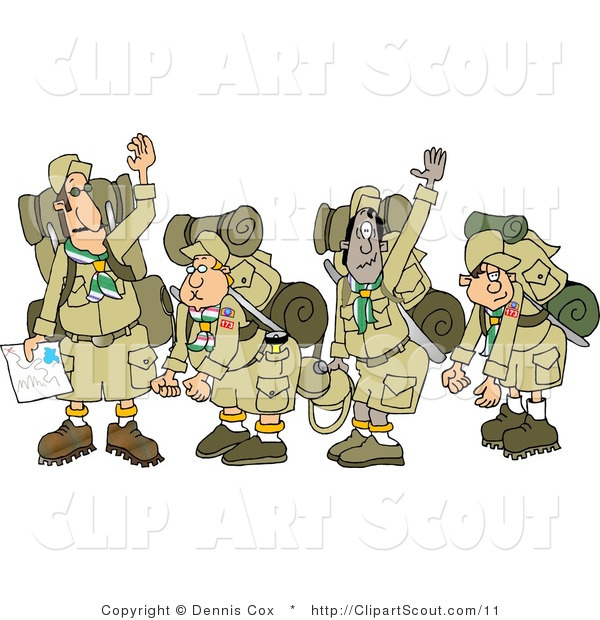 Clipart of Tired Scouts and Their Leaders Backpacking