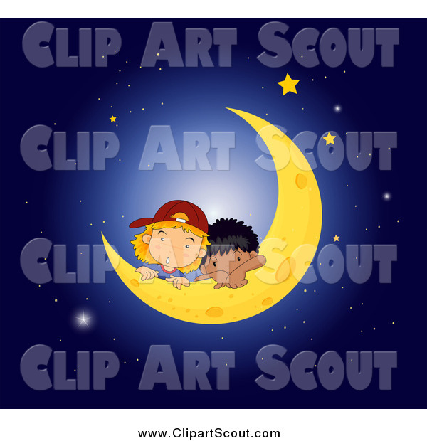 Clipart of White and Black Boys Resting on a Crescent Moon