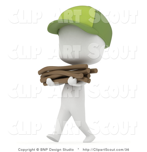 Vector Clipart of a 3D White Camper Boy Carrying a Stack of Kindling